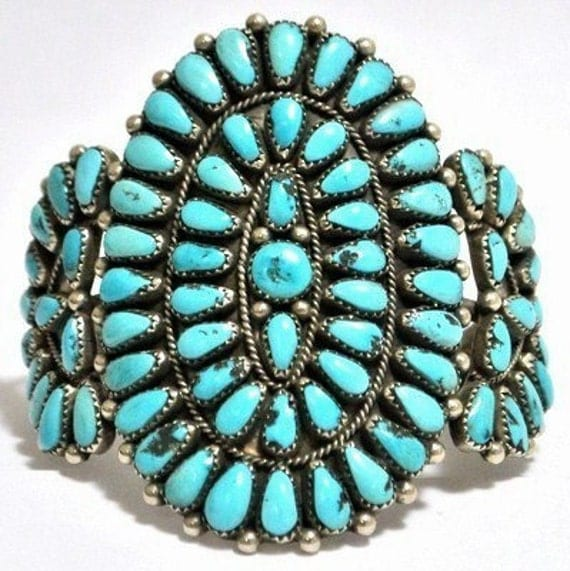 Vintage 1990s Old Pawn Navajo Sterling Silver Turquoise Cluster Cuff Bracelet s7.25