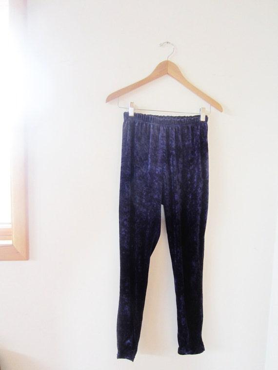vintage (M) 80s Velvet Purple Leggings