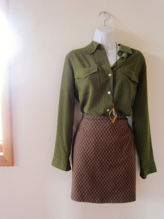 vintage (M) 1970s Green Pin Strip Blouse