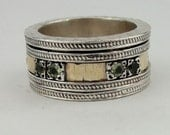 SALE - Great 9k  Gold and Sterling Silver Peridot Swivel Band Ring size 7.5