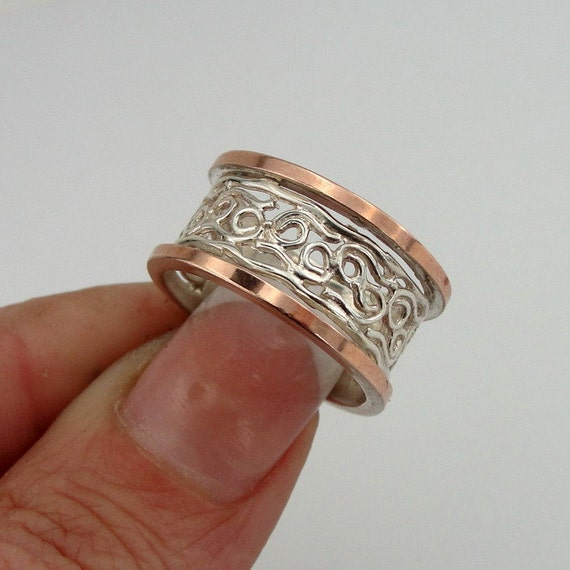SPECIAL PRICE - Great Artisan 9k Rose Gold Sterling Silver Ring size 7.5