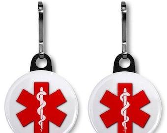 Medical Alert Symbol Warning Zipper Pull Two Pack