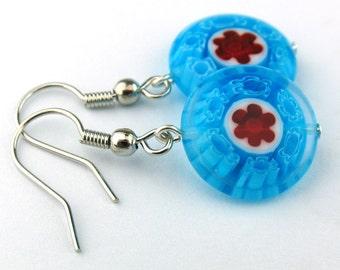 EE11101501) Blue millefiori glass round bead dangling earrings