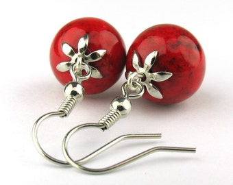 EE06011205) Red fossil ball dangling earrings