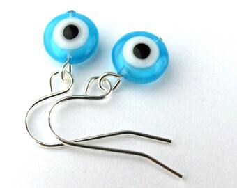 EE11150804) Light blue millefiori glass eye bead dangling earrings