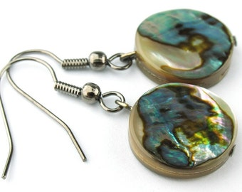 EE05031601) Abalone Shell Round Flat bead dangling earrings