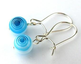 EE11010810) Light blue millefiori glass swirl ball dangling earrings