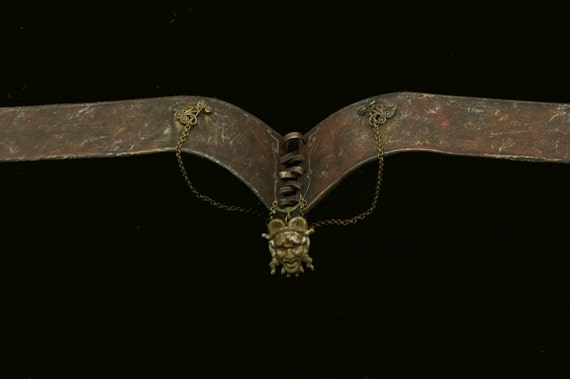 Steampunk victorian choker with satyr pendant in rust and red