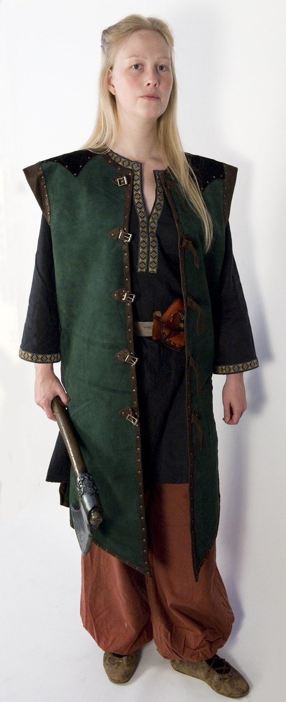 Leather armor overcoat in green, brown and black