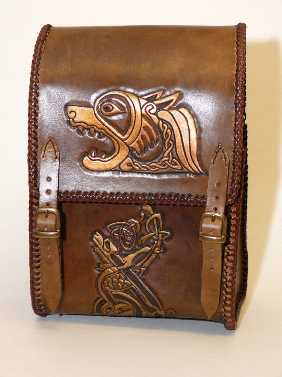 Brown leather bag with golden celtic dog and bird design warcraft costume larp sca game of thrones viking medieval hip bag handmade