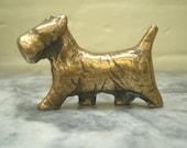Dog, Westie, Scottie, Vintage Figurine, Solid Brass, Statue, Paperweight, Ornament, Cute Gift Idea, Free Shipping