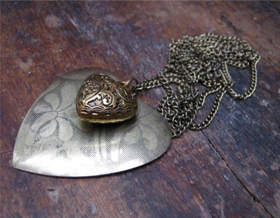 Heart Pendant, Two Hearts, Antiqued Gold Double Necklace, Extra Long Chain, Romance & Valentines, Free Shipping