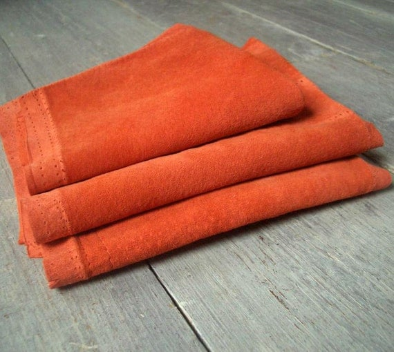 Orange Suede, Vintage Animal Hide, 3 Pieces, Soft & Workable, Fabric Destash, Tangerine Leather, Free Shipping