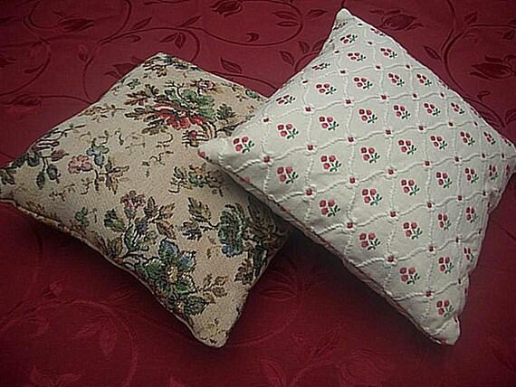 2 Shabby Chic Throw Pillows Vintage European Fabric FREE
