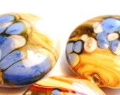 6 lampwork beads organic colored art beads jewelry craft supplies 18x9mm