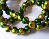 35 Emerald green glass beads with gold leaf 6mm green beads beadwork jewelry supplies