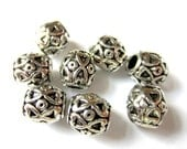 Metal beads antique silver 10 embossed ethnic spacers 10mm 7mm A934
