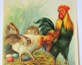 Antique Easter postcard embossed chickens unposted circa 1900