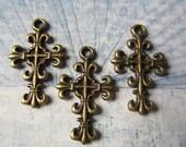 6 Bronze cross pendant charms antiqued metal fluer de lis 23mm 14mm