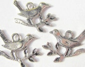 12 silver  bird charms 17mm 12mm 2mm silver jewelry pendant swallow charms
