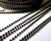10 ft Ball chain gun metal black for pendants diy jewelry making 1.5mm AA1