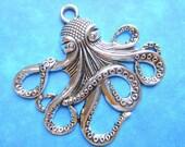4 Antique silver octopus charm silver necklace pendants sea animal pendants 57mm x 55mm 3mm