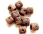 30 Antique copper beads ethnic style boho chic jewelry supply 7mm 6mm-W5