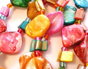 Colored sea shell jewelry craft beads