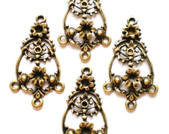 8 antiqued brass chandelier jewelry findings (F6)
