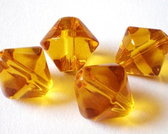 Bicone crystal beads 10mm 24 Honey gold art jewelry supplies