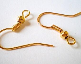Gold earring hooks 18mm 30 pr french style earring findings