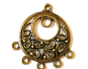 4 bronze chandelier jewelry findings 31mm x 35mm x 3mm hole 2mm bronze jewelry connectors (F6),