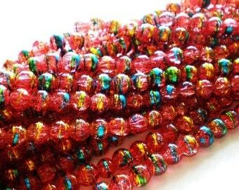 25 Glass beads tangerine 8mm art jewelry supply