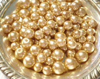 75 Glass pearl beads 4mm champagne jewelry  craft supplies
