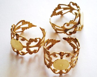 Ring blank  adjustable 5 gold filigree jewelry supplies grb