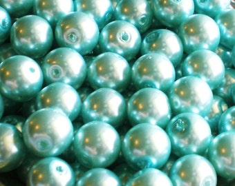 30 Pearl Beads Aqua Turquoise glass beads 8mm  supplies 30tp