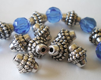 24 silver antiqued metal beads 8mm 10mm 2mm jewelry supplies HP 105(),