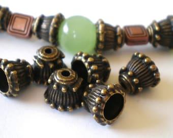 Rustic bronze bead caps 24