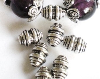 Oval metal beads  35 silver metal antiqued 9mm 6mm-(SR7)