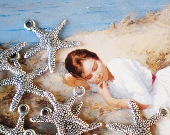 Silver starfish charms jewelry supply  10 earring dangles bracelet charms  A306