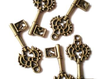10  charms antique bronze key 28x12x2mm nickel free jewelry supplies