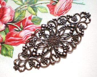 Antique Copper filigree connectors 8 flower wraps jewelry supplies
