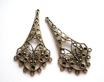 Earring  findings jewelry supplies 6 earring chandeliers antique bronze metal 25mm 58mm