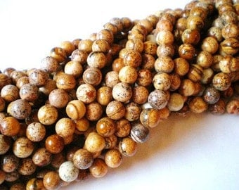 Picture jasper beads 8mm gemstone jewelry supplies strand 45 beads