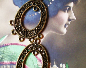 6 Bronze Earring dangles jewelry supplies earring chandeliers antique bronze metal 28mm 40mm (F5)