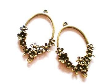 Earring hoops jewelry connectors 6 antique bronze earring dangles 42mm 26mm 4mm