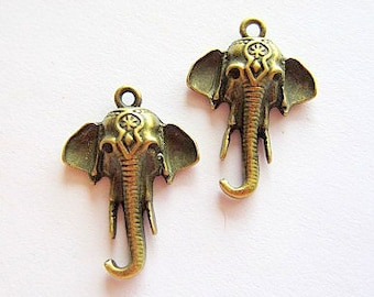 6 Elephant pendant jewelry charms antique bronze metal earring dangles
