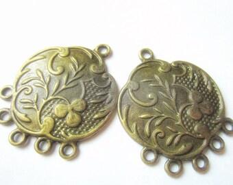 6 Earring chandeliers antique bronze earring hoops boho chic 32mm 25mm ZSE