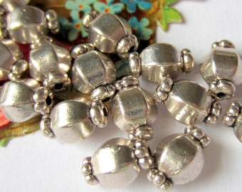 30 Silver metal beads spacers jewelry making supplies 7mm  x 10mm party