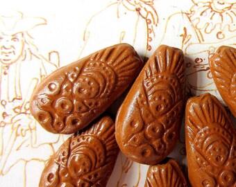 10 Beads ceramic clay rustic handmade teardrop mocha brown 15mm 30mm B1